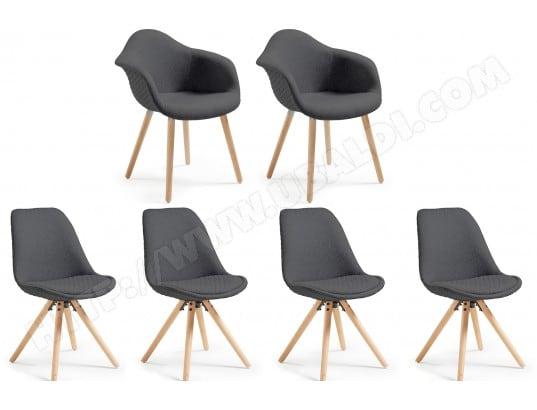 lf chaise kenna 2 fauteuils 4 chaises lars gris fonce