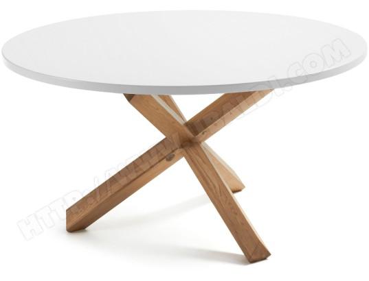 lf table de salle a manger nori diametre 135 cm plateau blanc pied bois