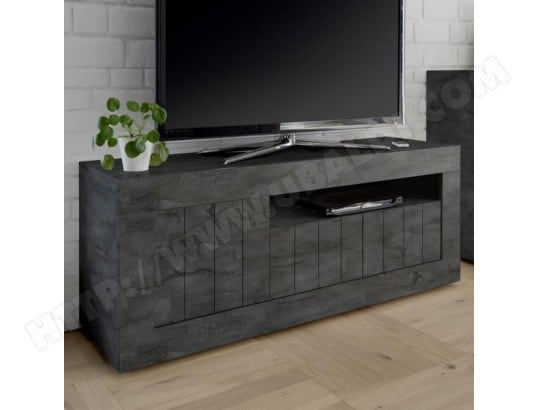 nouvomeuble meuble tv 140 cm gris anthracite moderne 3 portes urban ma 82ca487meub 7t8dw