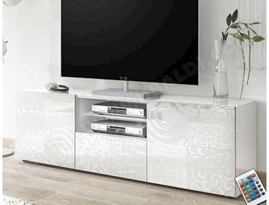 nouvomeuble petit meuble tv 120 cm blanc laque design elma ma 82ca487peti 2kbop