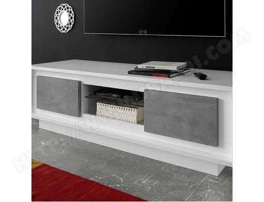 nouvomeuble meuble tv design blanc laque mat et effet beton erine 7 ma 82ca487meub 9fom6