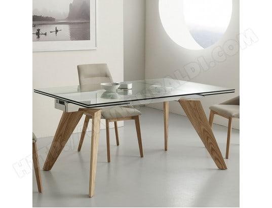 nouvomeuble table en verre et bois avec rallonge design velia ma 82ca492tabl 5nqo4