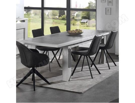 nouvomeuble table extensible moderne couleur chene blanc et gris childeric ma 82ca492tabl ks0dm