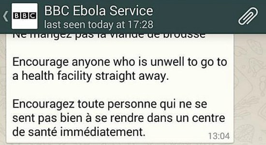 BBC Ebola Service was one of the first attempts to reach audiences on chat apps.