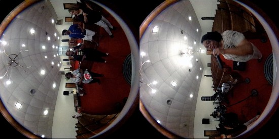 Screen shot from a 360 degree video of the gospel group, The Angelic Harmonizers, at the Clinton Chapel Zion A.M.E. Church in Selma, Alabama.