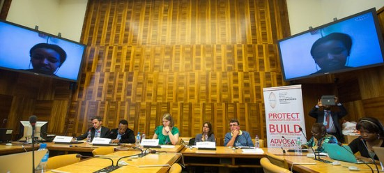 """Soleyana Gebremichael (Zone 9/Ethiopia) speaks via Skype at the side event on """"the misuse of anti-terrorism laws in Africa"""" on June 16, 2015. Photo by Maina Kiai on Flickrand reused here with Creative Commons license."""