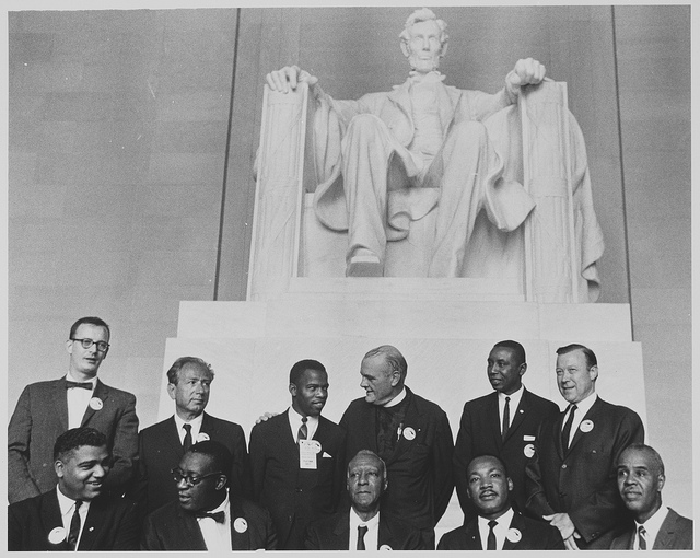 Leaders of the March on Washington pose at the Lincoln Memorial , Aug. 28, 1963. (Photo courtesy of the Archives Foundation and used here under Creative Commons license.)