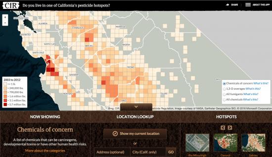 Screenshot from CIR's app on California pesticide hotspots.