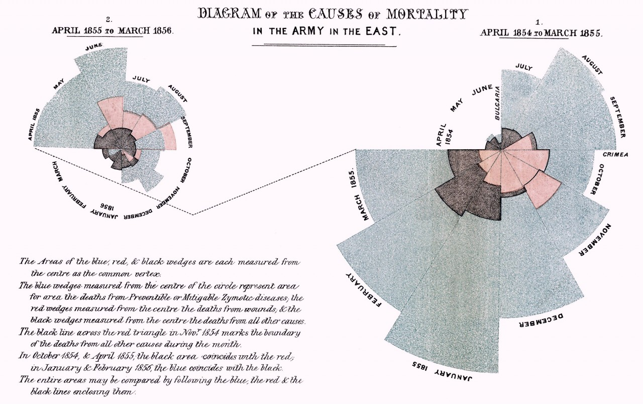 """Diagram of the causes of mortality in the army in the East"" by Florence Nightingale.  Image source: Wikipedia."