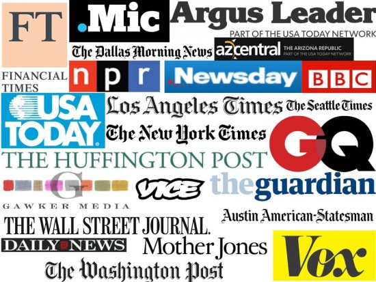 This is by no means an extensive list (or a well designed one at that), but rather just a small sampling of some of the bigger media groups that have these positions. (Logos courtesy of the respective media group, collage courtesy of me.)