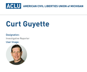 A screenshot from the ACLU of Michigan website.