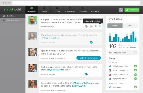 SproutSocial Smart Inbox allows you to monitor different social media accounts based on tags and filters.