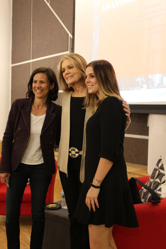 A mentor and mentee take a photo with Gloria Steinem. Photo courtesy of the Institute for Women's Leadership