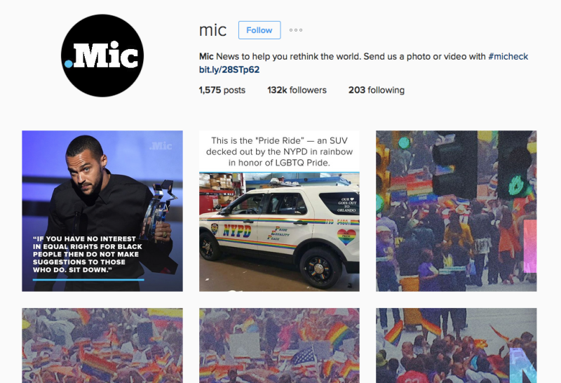 Mic is xxx on Instagram. Screenshot.