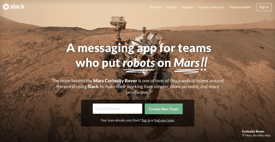 The website of the team messaging platform Slack.