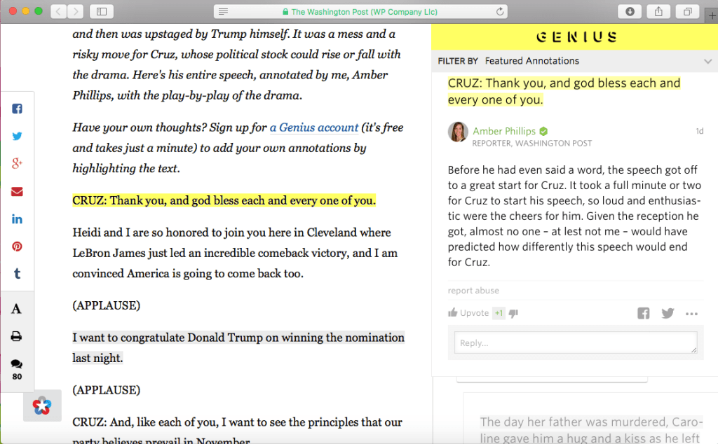 A screenshot of Genius used to annotate Ted Cruz's speech.