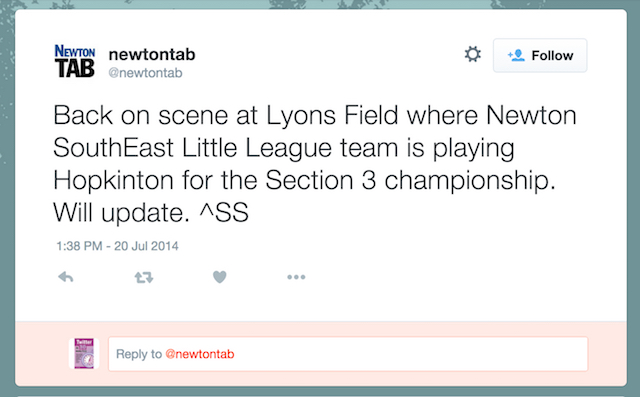 Newton Tab little league update