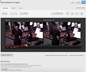 The YouTube face blurring interface. Image from the YouTube blog.