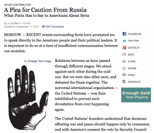 Vladamir Putin's op-ed in the New York Times.
