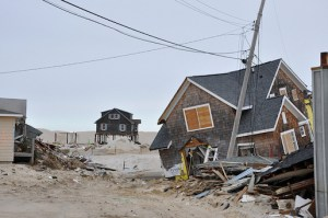 A house on Jersey Shore in Hurricane Sandy aftermath. Image by b0jangles on Flickr. Licensed under Creative Commons.