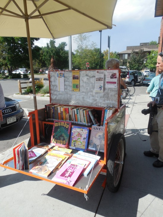 Photo of the Boulder Public Library's Book Bike by Jenny Shank.