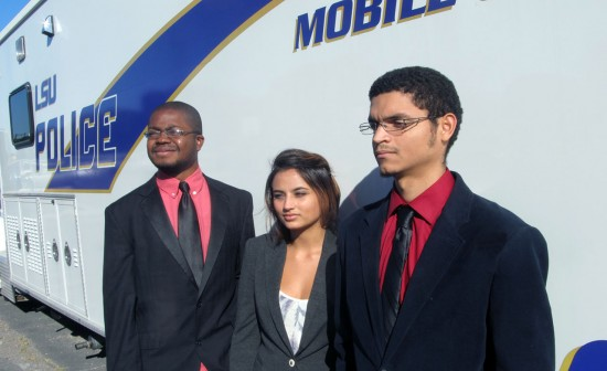 LSU students, from left, Wilborn P. Nobles III, Aryanna Prasad and Elbis Bolton are working to develop a police-accountability app.