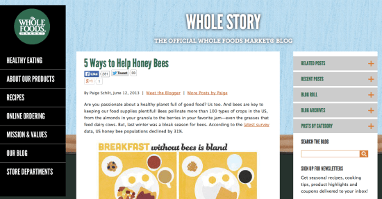 A screenshot of the Whole Foods blog doing branded content.