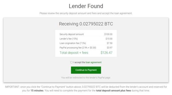 Lender found screen.