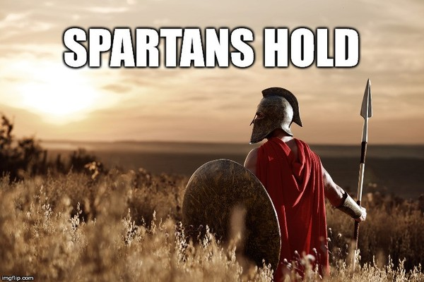 Spartan warrior holding a shield and a weapon.
