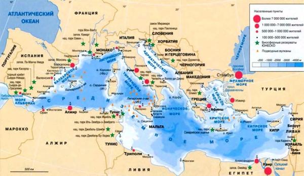 Средиземноморье на карте мира