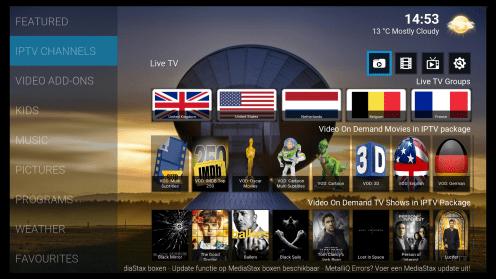 IPTV menu indien gids functie is uit