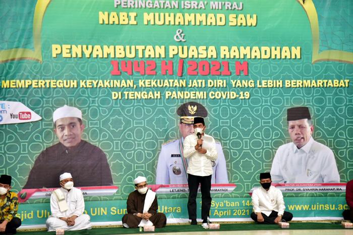 Gubernur Edy Rahmayadi Hadiri Peringatan Isra Mikraj di UIN Sumut
