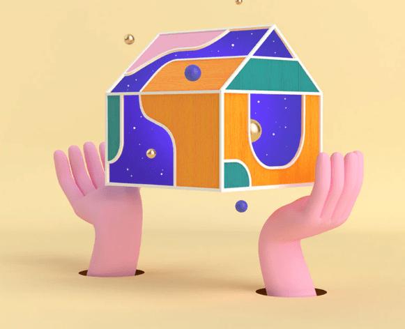 Les mains en rendu 3D tiennent une maison flottante avec des motifs abstraits
