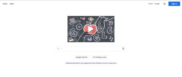 Capture d'écran de la page principale de Google - minimale avec beaucoup d'espace blanc