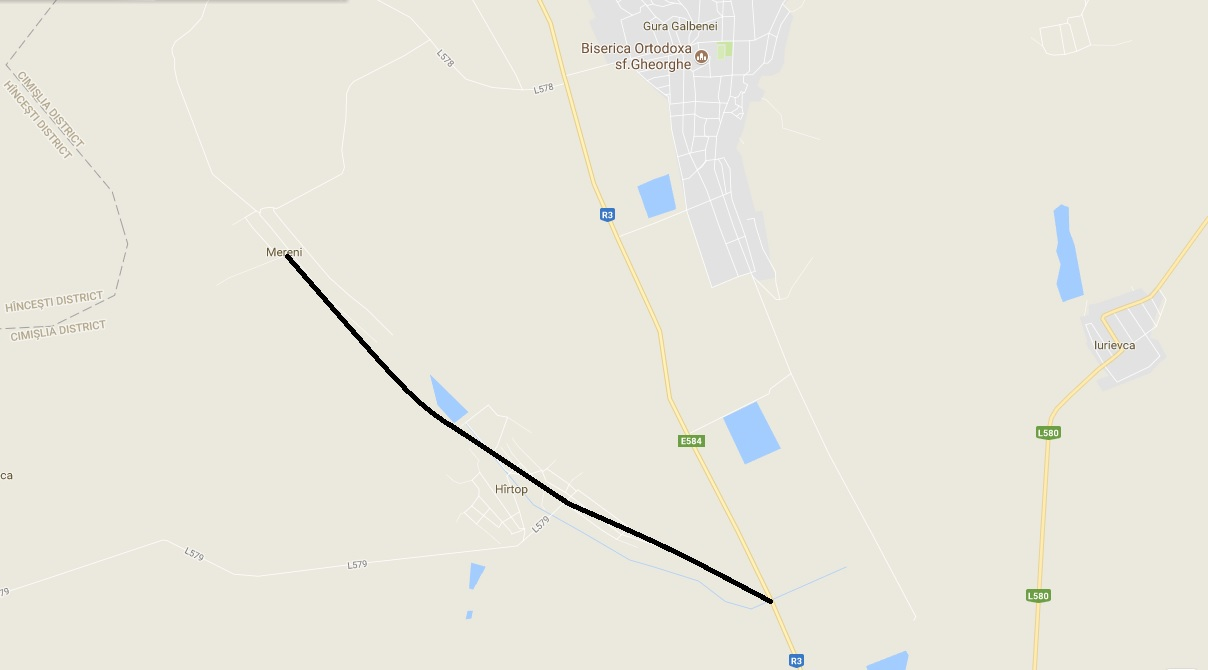 Drumul Hîrtop-Mereni intersectat cu R3