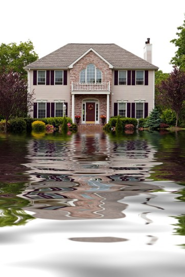 Flooded Brick Mansion Driveway