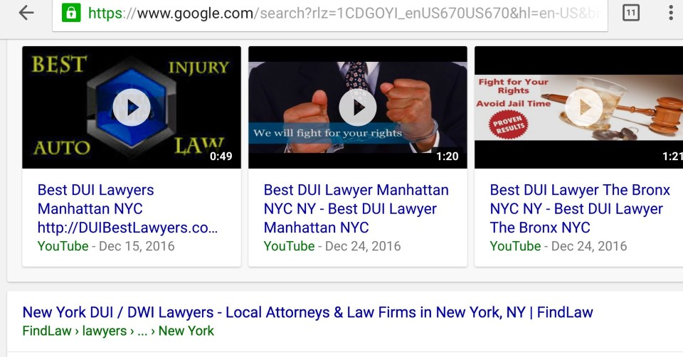 lawyers online video marketing and the best front page video and webpage ranking for the best Miami DUI Lawyers, Attorneys, and Law Firms