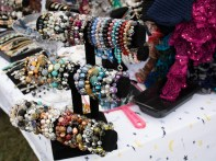 Levittown, NY - The Joan's Jewelry Corner display of custom made bracelets at the Country Craft Fair at Good Shephard Lutheran Church on Saturday, September 13, 2014. Joan Costello got her start by selling her jewelry at house parties and only recently became a frequent craft fair vendor.