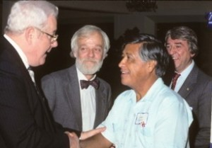 San Jose Guild's 50th anniversary party. From left: Chuck Perlik, Russ Cain, Cesar Chavez and Bill Davis. Photo by Frank Sweeney 1987