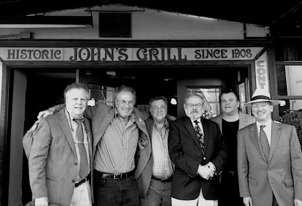 Carl Nolte, third from right, celebrates his 80th with friends at John's Grill with Mike Taylor, Steve Rubenstein, Lee Houskeeper, John Konstin and Allen Matthews