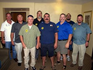IUE members in Fallon.  From left to right. Mike Kubiak, Bill Archer, Mike Tolzmann, Jeff Martens, John Hendrick, Tim Walden, Don Belgarde, Jeff Meadows. Photo by Howard Stieger 2014.
