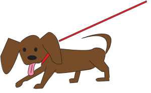 dog on leash illustration