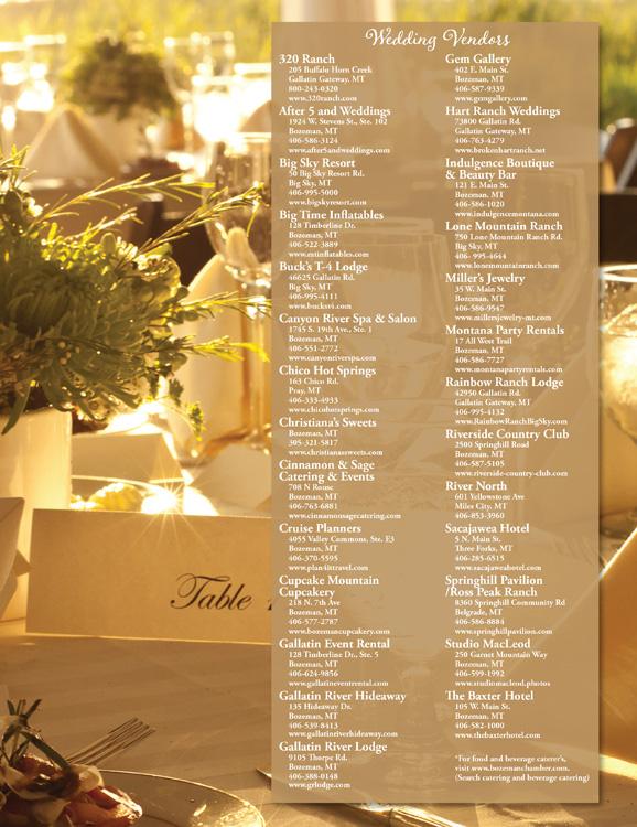 Bozeman Wedding Ad Graphic Design Wedding Vendor Listing