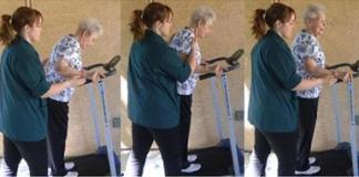 A hip fracture patient walking on a treadmill