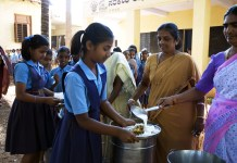 Children in School having mid-day meals