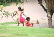 Indian kids playing in garden