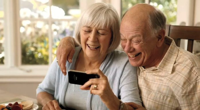 Senior people using smart phone