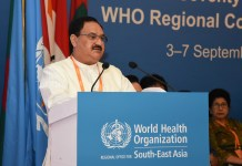 JP Nadda adressing PMJAY meeting at WHO
