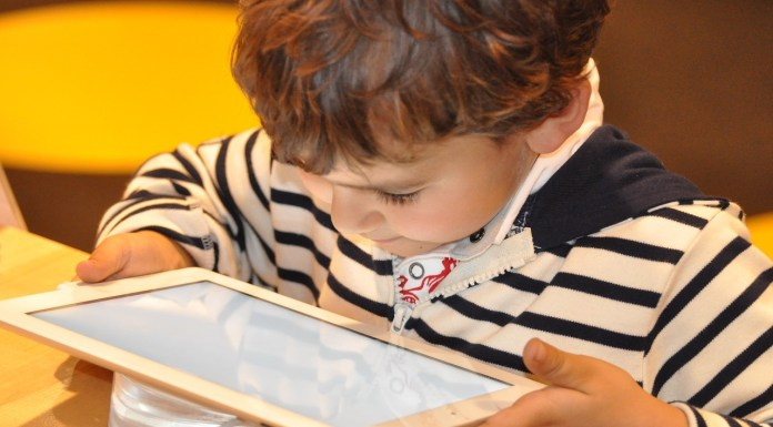 Screen time, child using tablet