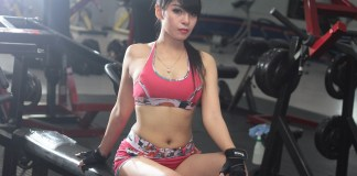 Girl in gym, exercise